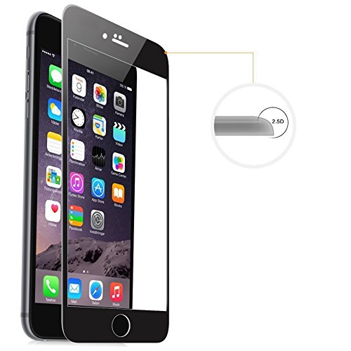 Amovo Screen Protector for iPhone 6s Plus [iPhone 6 Plus/6s Plus FULL COVER Tempered-Glass], Premium HD 0.26mm Round Angle Anti-Fingerprint Screen Glass Protector for iPhone 6 Plus (5.5'') (Black) by Amovo (Image #4)