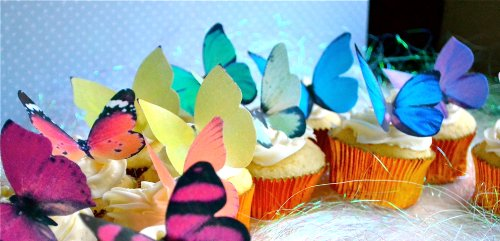 Edible Butterflies © -Large Rainbow Variety Set of 12 - Cake and Cupcake Toppers, Decoration by Sugar Robot Inc. (Image #1)