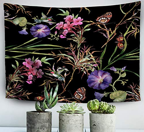 ROOLAYS Easter Home Art Decor Wall Hanging Tapestry Watercolor Summer Garden Blooming Weed Buds Flowers Spring Butterflies Tree Twig with 60x50 Inches for Living Room Dorm Background Tapestries (Best Buds Weed Wallpaper)