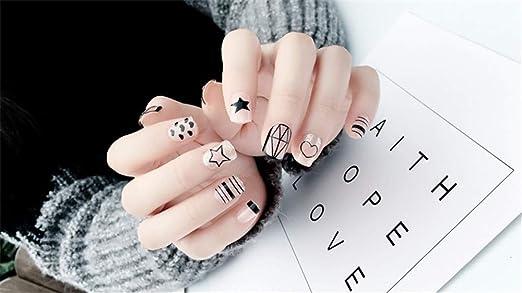 MENILITHS - 20 uñas postizas con Forma de corazón y ...