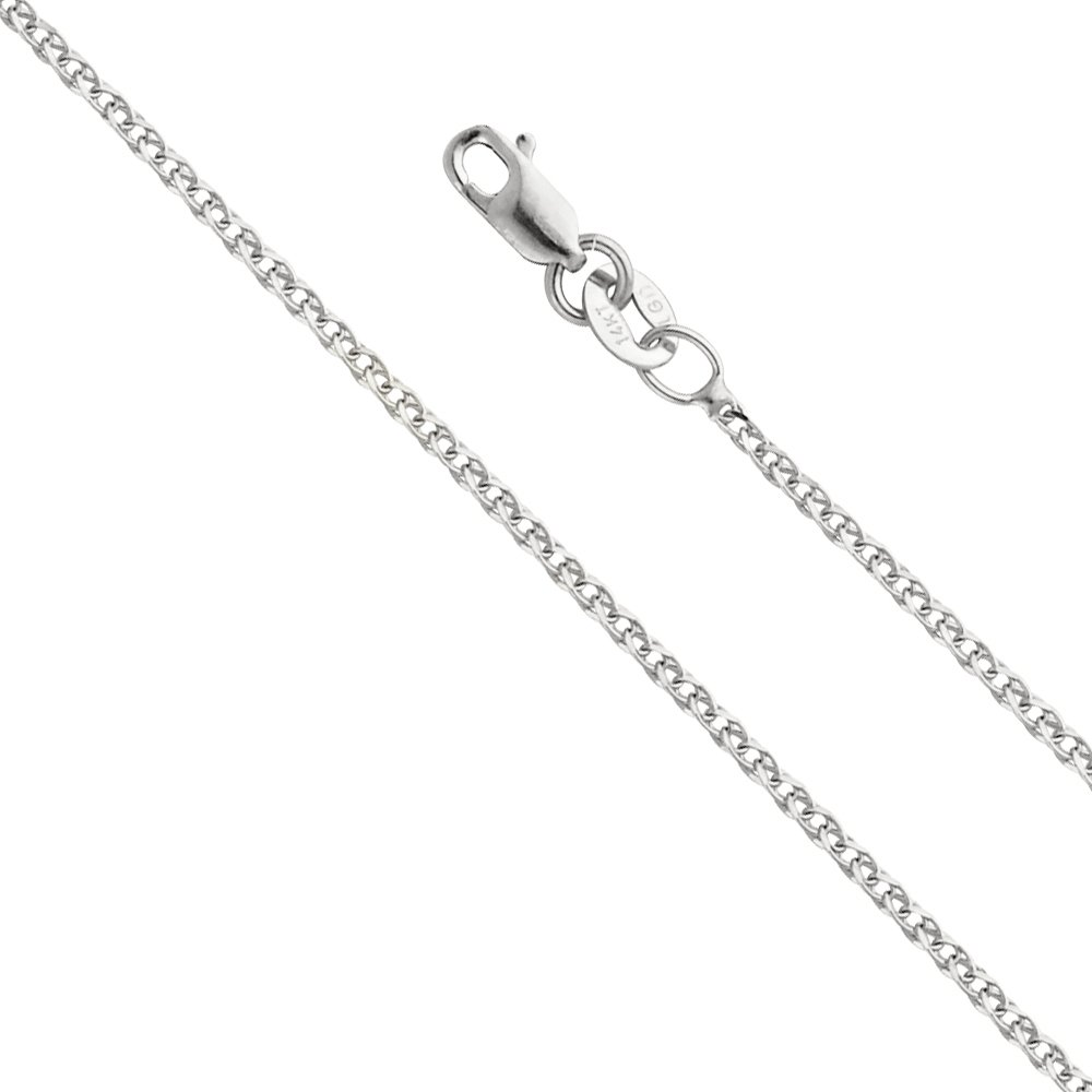 Wellingsale 14k White Gold SOLID 1.5mm Polished Flat Open wheat Chain Necklace with Lobster Claw Clasp - 16''
