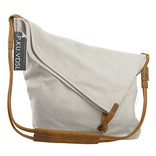 Slouch Womens Handbag - Canvas Crossbody Bag, P.KU.VDSL Casual Large Hobo Bags for Women (White)