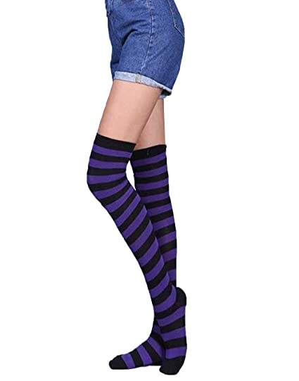 8806b42c6de Suimiki Women s Vertical Striped Knee High Stockings Socks Deep Purple at  Amazon Women s Clothing store