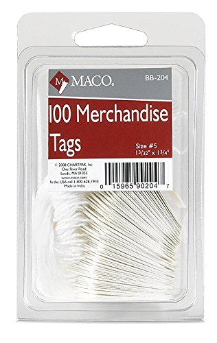 UPC 015965902047, MACO White Strung Merchandise Tags, #5 - 1-3/32 x 1-3/4 Inches, 100 Per Pack (BB-204)
