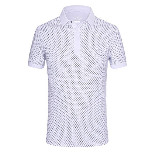 EAGEGOF Regular Fit Men's Shirt Stretch Tech Performance Golf Polo Shirt Short Sleeve L (White Floral -