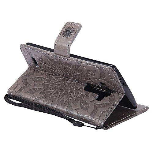 YHUISEN LG G4 caso, diseño de la impresión de la flor del sol Caja de cuero del tirón de la PU del tirón de la PU con la ranura para tarjeta / soporte para LG G4 ( Color : Purple ) Gray