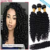 S-noilite Brazilian Deep Wave Human Hair Bundle Unprocessed Deep Wavy Remy Human Hair Bundle for Women #1B Natural Black 1 Bundle Total 100g/3.5oz 28 Inch Deep Curly Human Hair Extension