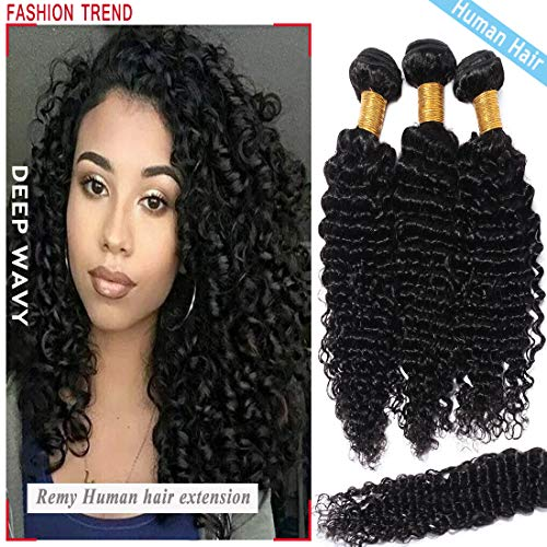 S-noilite Brazilian Deep Wave Human Hair Bundle Unprocessed Deep Wavy Remy Human Hair Bundle for Women #1B Natural Black 1 Bundle Total 100g/3.5oz 18 Inch Deep Curly Human Hair Extension
