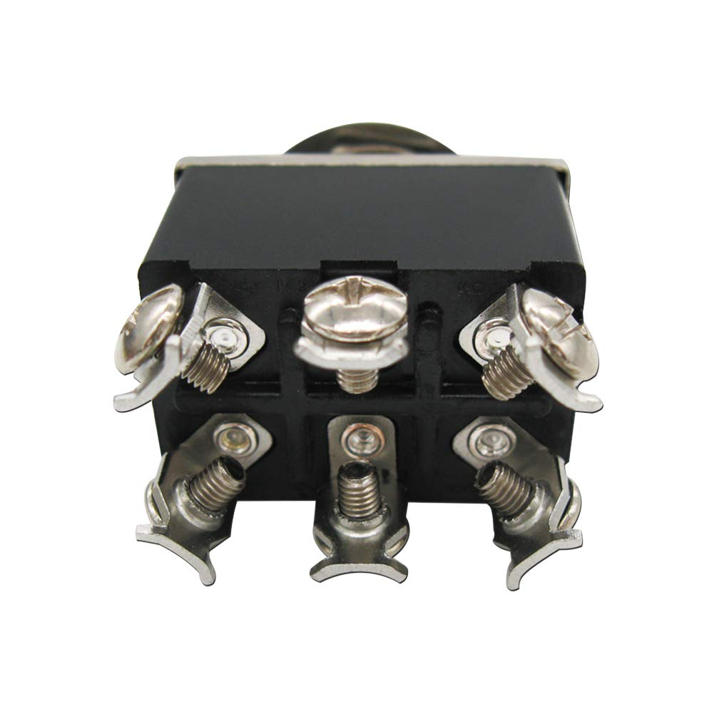 mxuteuk 3pcs Ten-1321-5MZ Heavy Duty Rocker Toggle Switch 16A 250V 20A 125V DPDT ON//ON 6 Terminal 2 Position 5pcs Metal Knob Cover Cap Waterproof 2 Years Warranty