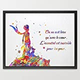 Dignovel Studios 13X19 The Little Prince Quote Art Le Petit Prince inspiration Watercolor Art Print Poster Home Decor Wall Hanging Kids Room Art Birthday Gift N154