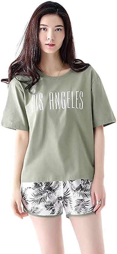 Mujer Pijamas Mujer Elegantes Manga Corta Cuello Redondo Camiseta Conjunto De Pijama + Shorts Dos Piezas Fashionista Verano Impreso Pijama Moda Casual Ropa para El Hogar Ropa De Dormir: Amazon.es: Ropa y
