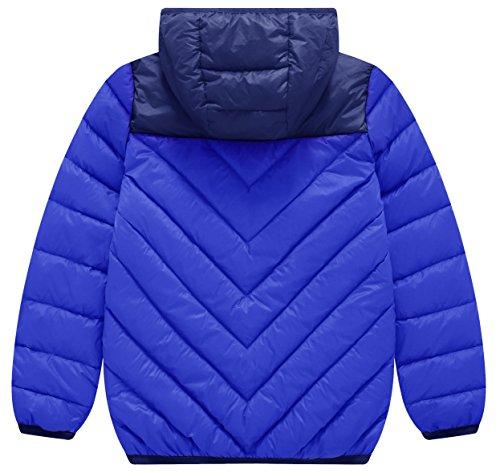 Wantdo Boy's Lightweight Packable Puffer Down Jacket Hooded Windproof Color Block Winter Coat(Sapphire Blue, 8) by Wantdo (Image #2)