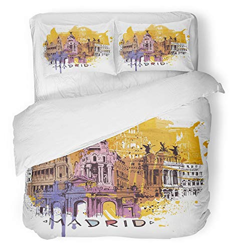 Emvency Bedsure Duvet Cover Set Closure Printed Decorative Blue Spain Madrid Sketch Yellow Painting Tourist Architecture Pop Toledo Breathable Bedding Set With 2 Pillow Shams Twin Size by Emvency