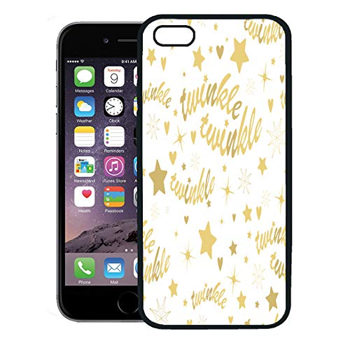 Semtomn Phone Case for iPhone 8 Plus case,Little Gold Stars and Twinkle Lettering Lullaby Baby Heart Nursery Rhyme iPhone 7 Plus case Cover,Black