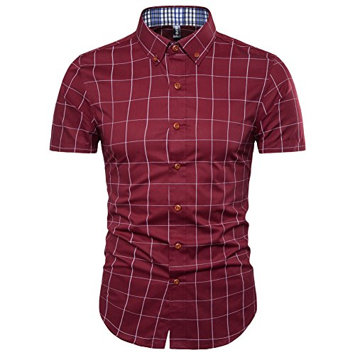 MUSE FATH Plaid Casual Button Down Shirt-Cotton Plaid Shirt-Wine Red-M ()