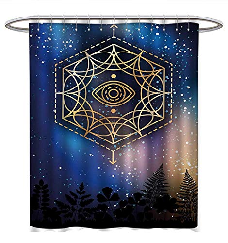 Anhuthree Sacred Geometry Shower Curtains Sets Bathroom Hexagon Form with The Eye Icon in The Centre on Starry Night Mystic Image Bathroom Accessories W48 x L84 ()