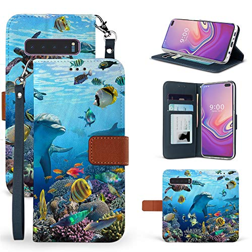 (PimpCase Wallet Case for Galaxy S10 Plus, Flip Case with Kickstand Card Holders for Samsung Galaxy S10+ Dolphins Reef Sea World)
