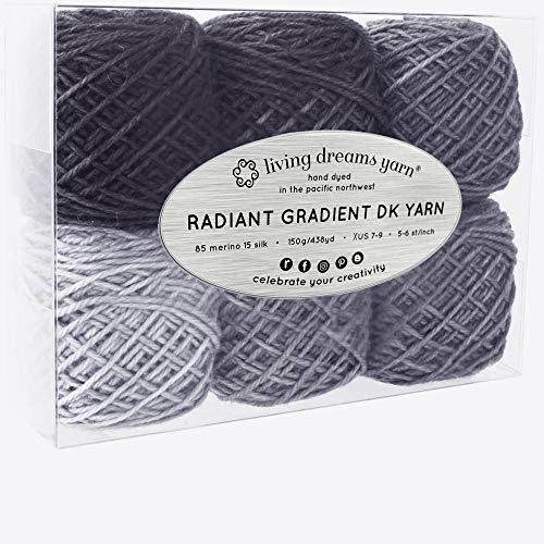(Living Dreams Radiant Gradient DK Yarn. Super Soft Merino Silk. USA Hand Dyed: Lunar Eclipse)