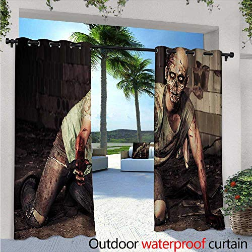 Zombie Outdoor Privacy Curtain for Pergola Halloween Scary Dead Man in the Old Building with Bloody Head Nightmare Theme Thermal Insulated Water Repellent Drape for Balcony W108