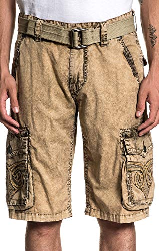 Affliction Revival Fashion Embroidered Cargo Shorts for Men