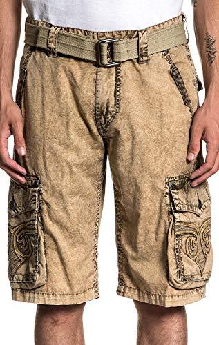 Affliction Men Jean - Affliction Revival Fashion Embroidered Cargo Shorts for Men