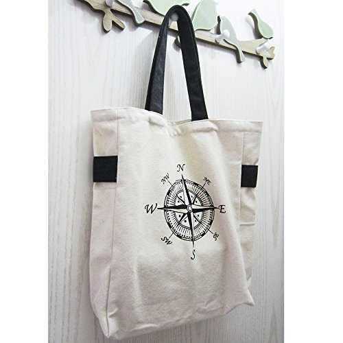 ASAPS Black Printed Design Canvas Tote Bag with Handles (Compass) - Buy  Online in Oman.  e8f93f02b98f5