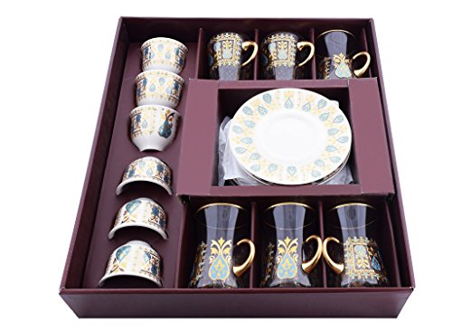 18 On the knuckles Handmade Glass Unique Fancy High Class Arabic Mirra Coffee set and Tea Set- Special Design Colored Engraved Turkish Tea Set