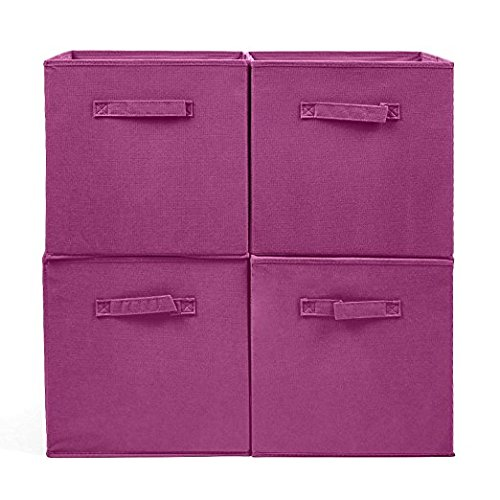 EZOWare Set of 4 Foldable Fabric Basket Bins, Collapsible Storage Cube for Nursery Home and Office - Wine Red (13 x 15 x 13 inches)