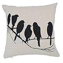 Weksi®Simple Style Cotton Linen Cushion Cover Black Birds on the Branch Pattern Throw Pillow Covers 18x18 Pillow Cases Used for Sofa Pillow Cover and Decorative Pillow Covers