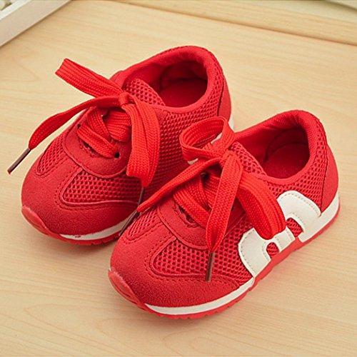 IGEMY Baby Sport laufende weiche zufällige flache Turnschuh Maschen Müßiggängerschuhe Rot