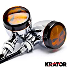 2pc Skull Lens Chrome Motorcycle Turn Signals Bulb For Kawasaki VN Vulcan Classic Nomad Drifter 1500