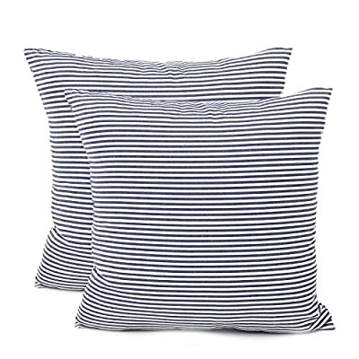 "Shamrockers Farmhouse Striped Throw Pillow Cover Decorative Cotton Linen Ticking Stripe Cushion Pillowcase (18""x18"", Navy, Pack of 2) - Material: 100% Cotton Linen & Imported; Features: Invisible Zipper, Sturdy and Smooth, Large 16 Inch (approx.) opening for EASY INSERTION and removal of pillows, Tight zigzag over-lock stitches to avoid fraying and ripping. Double sewing at 4 sides with the tear-proof design. Its hard to be tore and durable; Design & Occasion: Same design / pattern on BOTH SIDES of these blue and white throw pillow covers, make a modern and natural look to your room. Suitable for Sofa, Bed, Home Decor, Office, Car. - patio, outdoor-throw-pillows, outdoor-decor - 51EkL6ttbrL. SS400  -"