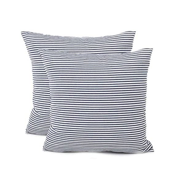 """Shamrockers Farmhouse Striped Throw Pillow Cover Decorative Cotton Linen Ticking Stripe Cushion Pillowcase (18""""x18"""", Navy, Pack of 2) - Material: 100% Cotton Linen & Imported; Features: Invisible Zipper, Sturdy and Smooth, Large 16 Inch (approx.) opening for EASY INSERTION and removal of pillows, Tight zigzag over-lock stitches to avoid fraying and ripping. Double sewing at 4 sides with the tear-proof design. Its hard to be tore and durable; Design & Occasion: Same design / pattern on BOTH SIDES of these blue and white throw pillow covers, make a modern and natural look to your room. Suitable for Sofa, Bed, Home Decor, Office, Car. - patio, outdoor-throw-pillows, outdoor-decor - 51EkL6ttbrL. SS570  -"""