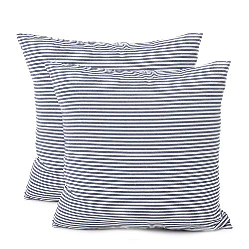 Shamrockers Farmhouse Striped Throw Pillow Cover Decorative Cotton Linen Ticking Stripe Cushion Pillowcase (18