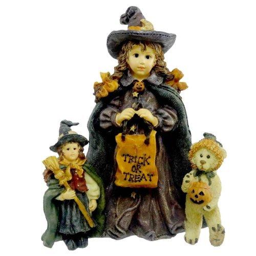 (Boyds Bears Resin Mallory W/ Patsy & Jb Trick Or Treat Halloween Dollstone - Resin 5.00)