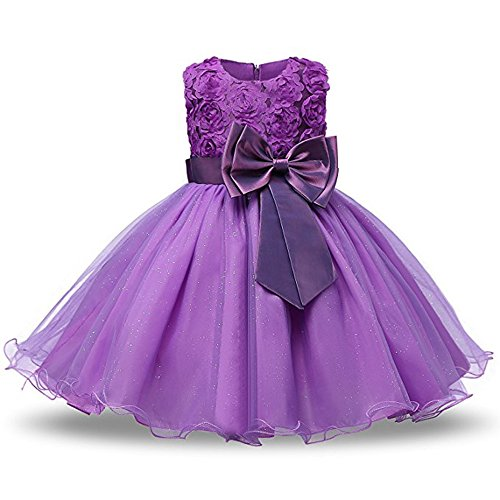 Tueenhuge Girls Princess Dress 3D Flower Baby Toddler Wedding Bridesmaid Party Formal Dress, Purple 110/2-3 Years