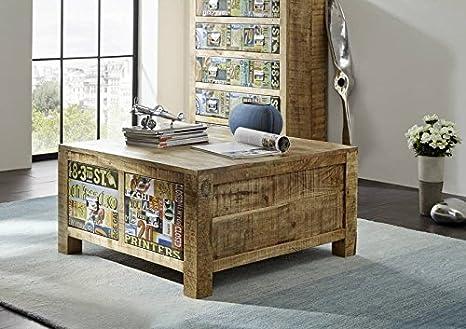 Legno massello mango mobili legno vintage laccato tavolino da