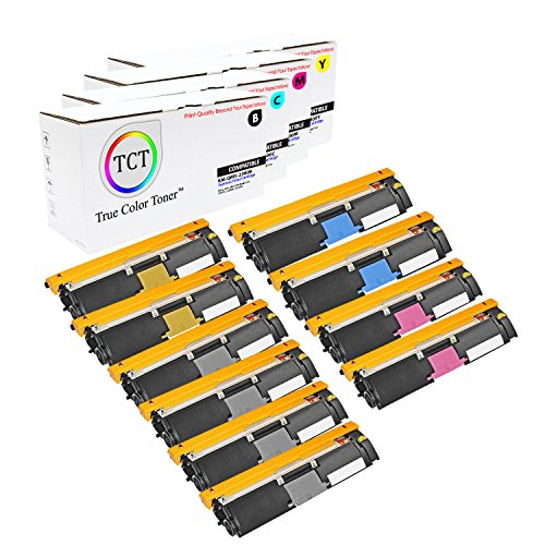 TCT Premium Compatible Toner Cartridge Replacement for QMS 2300 Konica Minolta Magicolor 2300DL 2300W 2350EN Printers (Black, Cyan, Magenta, Yellow) - 10 Pack ()