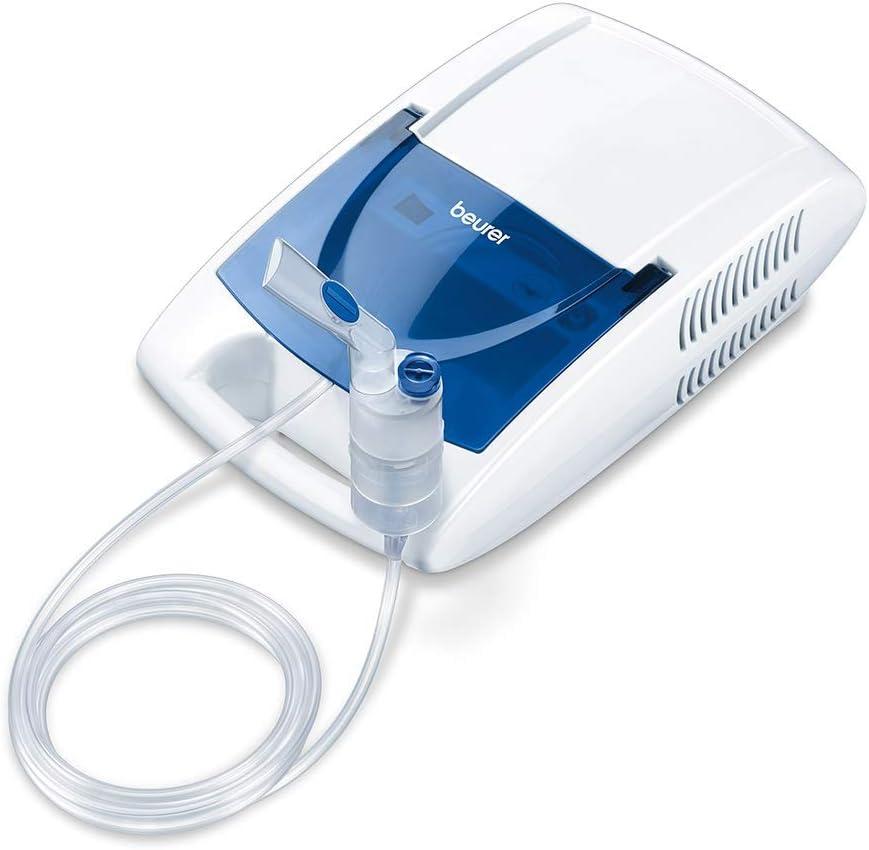 Beurer IH21 - Nebulizador para la inhalación de medicamentos líquidos con tecnología de aire comprimido, accesorio para nariz y compartimento, blanco/azul, 30 x 18 x 10 cm, 1.65 kg