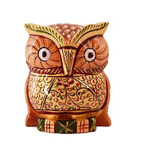 (Purpledip Wooden Owl With Fine Gold Painting; Miniature Idol Gift Vaastu Feng Shui Good Luck Charm (11254) )