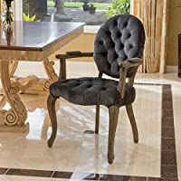 Reeve French Design Charcoal Velvet Accent Chair w/ Tufted Backrest