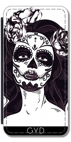 Leder Flip Case Tasche Hülle für Apple Iphone 7 / Iphone 8 - Schädel Horror Gotik Halloween by WonderfulDreamPicture