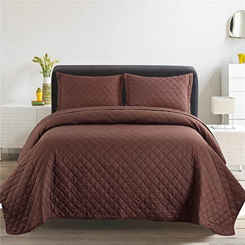 Jessy Home 3 Piece Bedspread Set Reversible Quilts King Size, Plaid Coverlet 100% Microfiber Quilt Set, Suitable for All Seasons,King (96