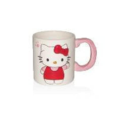 Hello Kitty-Taza, diseño de Hello Kitty 2D, color blanco
