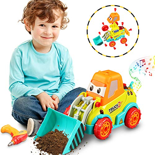 Tencoz Take Apart Toys, Kids Tool Set with Electronic Cordless Drill Car Bulldozer Excavator Toys Gifts for Boys Kids Girls Toddler Christmas Pretend Play