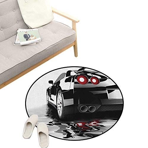 Cars Round Rug ,Modern Black Car with Water Reflection Prestige Fast Engine Performance Lifestyle, Art Deco Non-Slip Backing Machine Washable 47