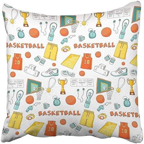 Kinhevao Cojín Decorativo Doodle Baloncesto Sketchy Deporte Aro de ...