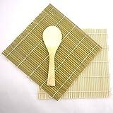 Green/Yellow Bamboo Sushi Kit Rolling Mat With Rice Paddle Set
