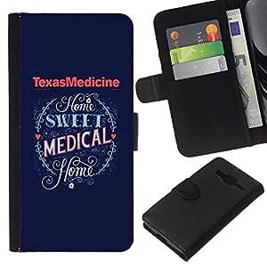iBinBang / Flip Funda de Cuero Case Cover - Medicina de Texas Medical Corazón Azul - Samsung Galaxy Core Prime