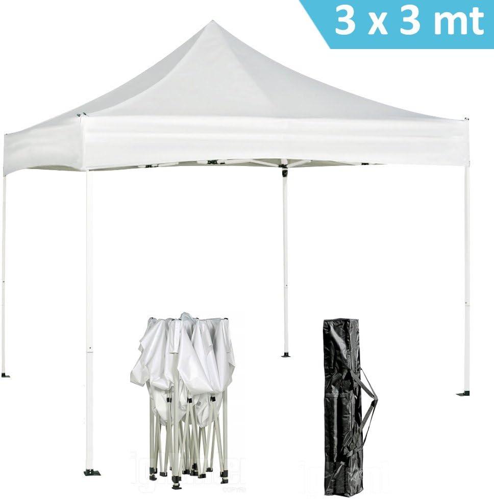 DP Design® - Pérgola plegable con toldo impermeable de color blanco para jardín, mercado y terraza (3 x 3 m): Amazon.es: Jardín